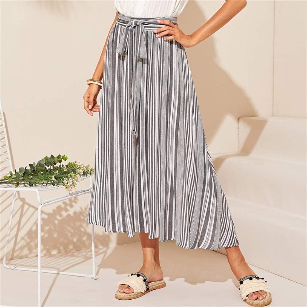 YISQING Falda con Estampado de Rayas Verticales Gris Mujer Cintura ...