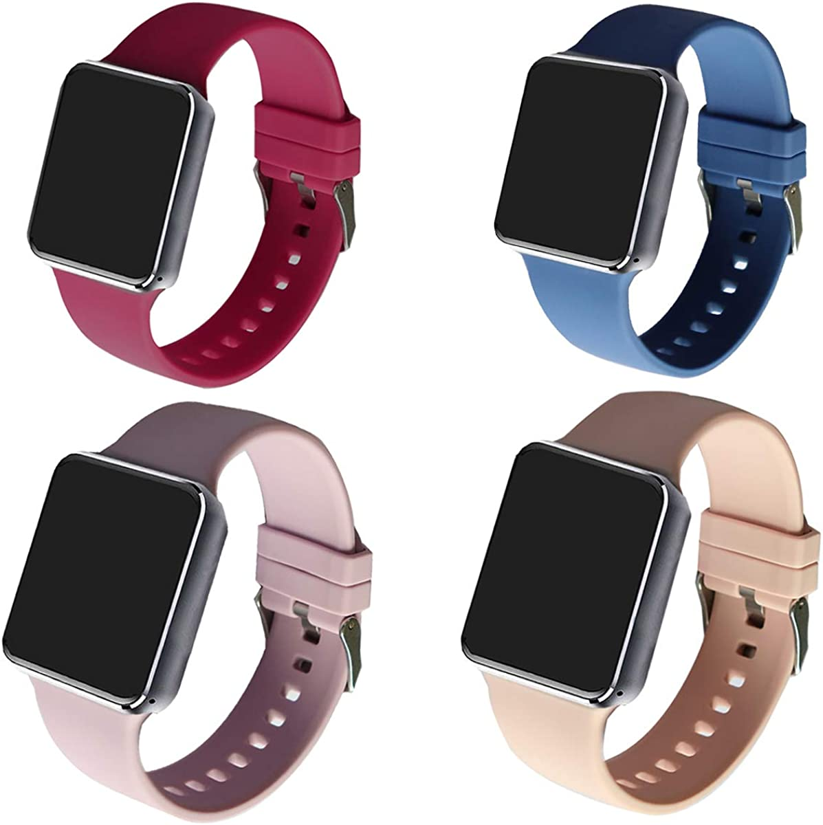 KZE VZEO Silicone Bands Compatible with Apple Watch 38mm/40mm/42mm/44mm ,Soft Sport Replacement Band for iWatch Series SE/6/5/4/3/2/1