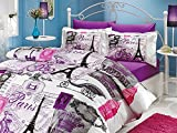 Difference Between Full and Queen Bed Paris Ranforce Turkish Cotton 4-Piece Eiffel Tower Themed Full Queen Quilt Duvet Cover Set, Vintage Purple
