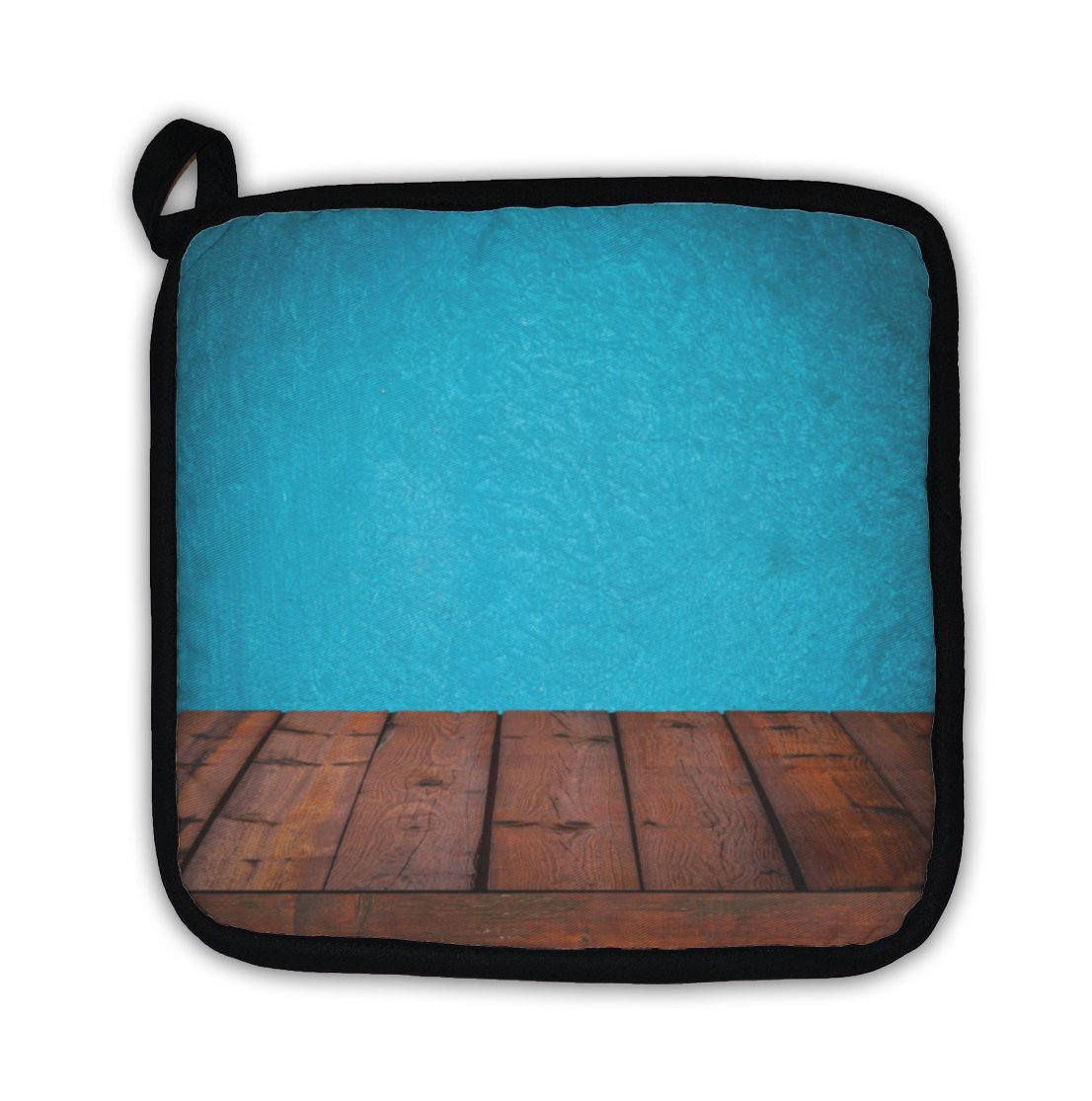 Gear New with Wooden Table & Grunge Blue Wall Pot Holder