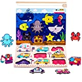 jigsaw puzzle fishing - Wooden Pegged Puzzles, Magnetic Fishing Pole Game, Jigsaw Board, Teaching Shape, Vehicles, Animal, Language Learning Educational Gift For 1 2 3 4 Year Olds Toddlers, Kids, Boys, Girls - iPlay, iLearn