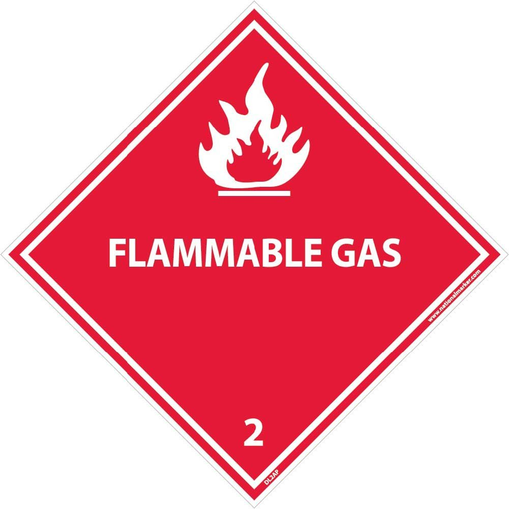 DL2AP National Marker Dot Shipping Labels, Flammable Gas 2, 4 Inches x 4 Inches, Ps Vinyl, 25/pk (Pack of 25)