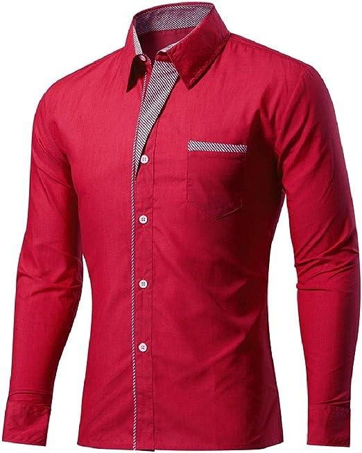 Tralounry Men Skinny Western Shirt No-Iron Business Button Dress Shirt