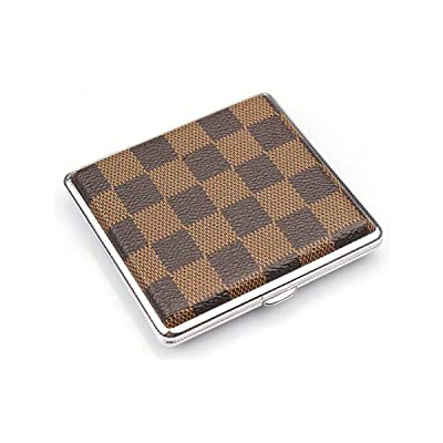 QINRUIKUANGSHAN Cigarette Case, 20 Packs Creative Metal Cigarette Case Personality Plaid Cigarette Case Automatically Pops The Cigarette Box (Color : Brown): Sports & Outdoors