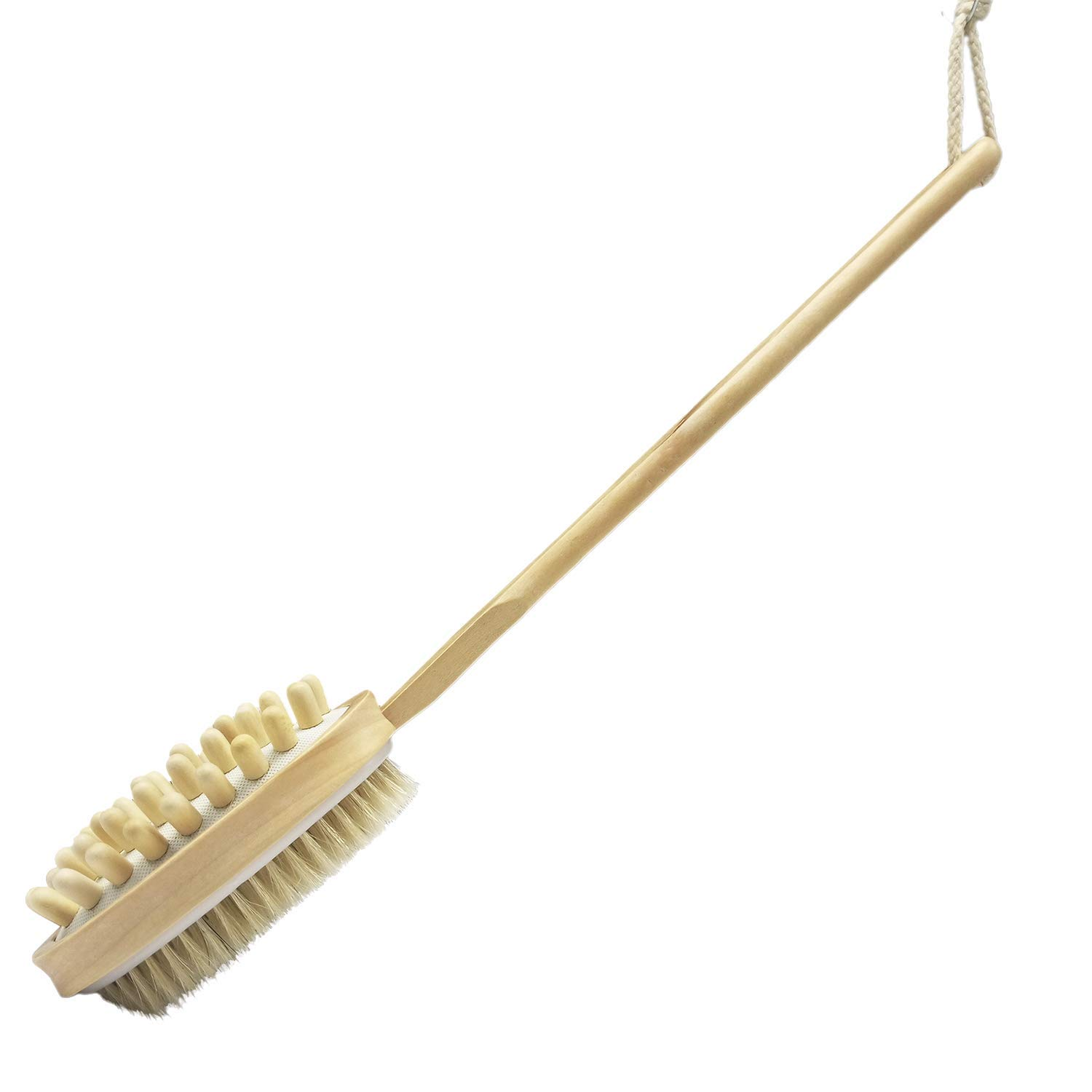 Bath Blossom Bamboo Body Brush for Back Scrubber - Natural Bristles Shower Brush with Long Handle - Excellent for Exfoliating Skin and Cellulite - Use Wet or Dry - Suitable for Men and Women Pomarico