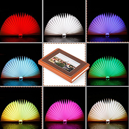 Veesee Mini 8 Colors Folding Book Lamp,Led Book-Shaped Night Light,Rechargeable Desk Table Nightstand Bedroom Lamps,Beside Bed Lights(Brown)