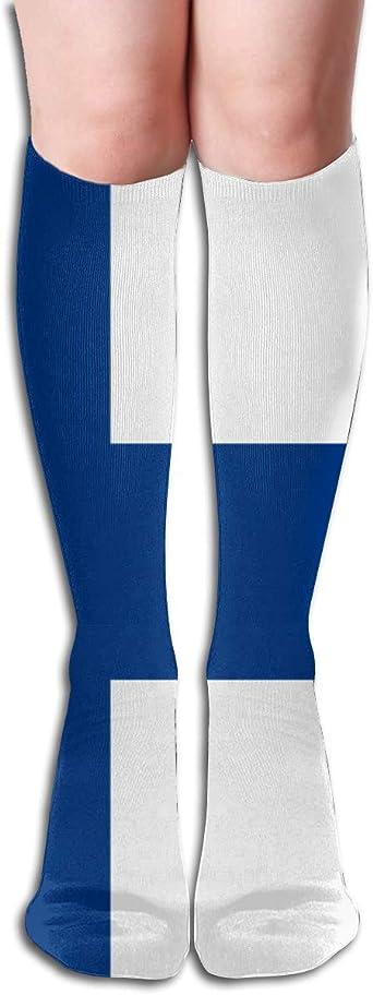 Nifdhkw Knee High Socks Originality Finland Flag Long Socks Boot Stocking Compression Socks For Women