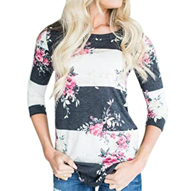 6c6cb4c29d1e5 ... Rose Floral Print Patchwork Striped Round Neck Long Sleeve Curvy  Hemline Tunic Casual Loose Cotton Basic Tops Pullover Shirts Blouse  Sweatshirt