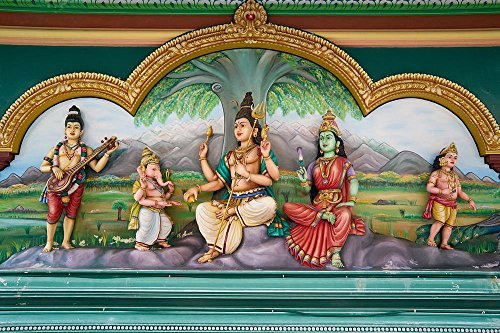 Quality Prints - Laminated 35x24 Vibrant Durable Photo Poster - Religion Hinduism God Indian Travel Prayer Buddhism Temple Buddhist Worship Faith Sculpture Asian Malaysia On Ancient City Day