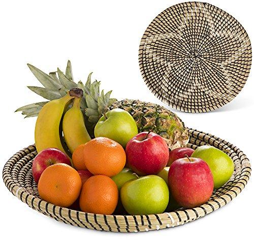 jiya living Fruit Bowl Large 15 inch for Kitchen Table Centrepiece Living Room for Fruit,Cookie, Snack - Natural Fruit Basket - Hide Laundry Holder