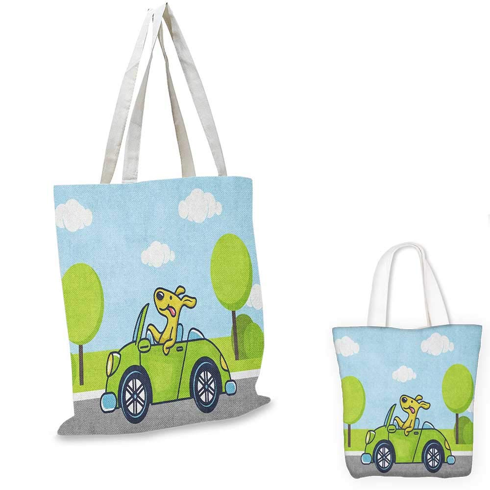 Dog Driver canvas messenger bag Puppy in Tropical Island with Palm Trees on a Motorbike Travel Holiday Theme canvas beach bag Multicolor 12x15-10