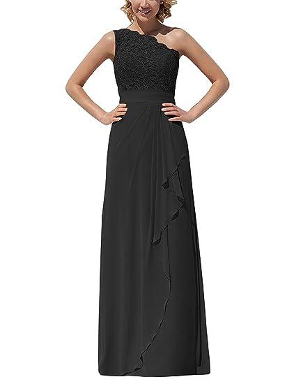 Thaliadress Chiffon Lace Long One Shoulder Bridesmaid Dress Evening
