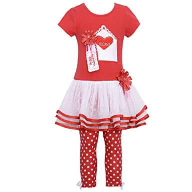 bonnie jean baby girls valentine tutu dress outfit w leggings red 12 months - Girls Valentines Outfit
