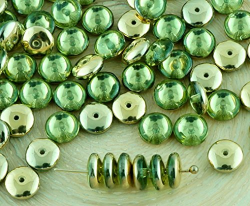 60pcs Crystal Olive Peridot Green Metallic Gold Half Disc Flat Round Disk Spacer Washer Solo One Hole Czech Glass Beads 6mm (Peridot Disc)