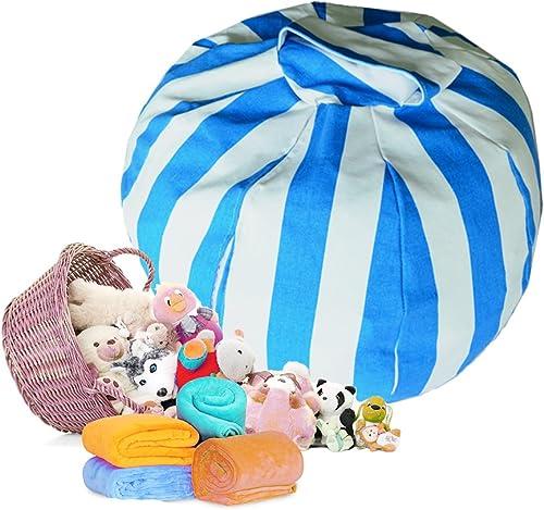Univegrow Stuffed Animal Storage Bean Bag Chair 8 Petals Blue