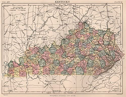 Amazon.com: KENTUCKY state map. Counties. BRITANNICA - 1898 ...