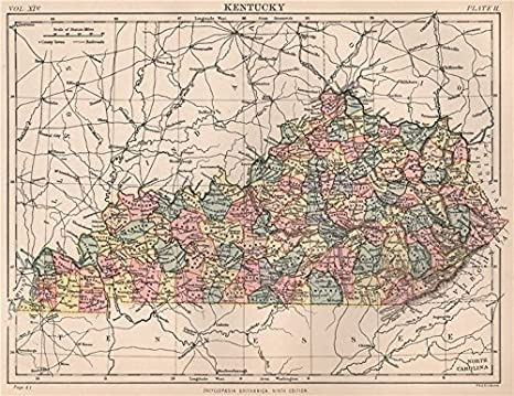 Amazon.com: KENTUCKY state map. Counties. BRITANNICA - 1898 - old ...