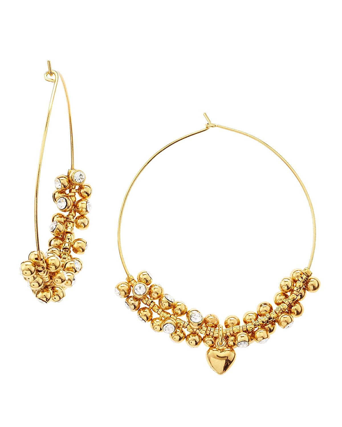 6dd92e72cc114 Amazon.com: Juicy Couture Gold Cz Beaded Hoop Earrings: Jewelry