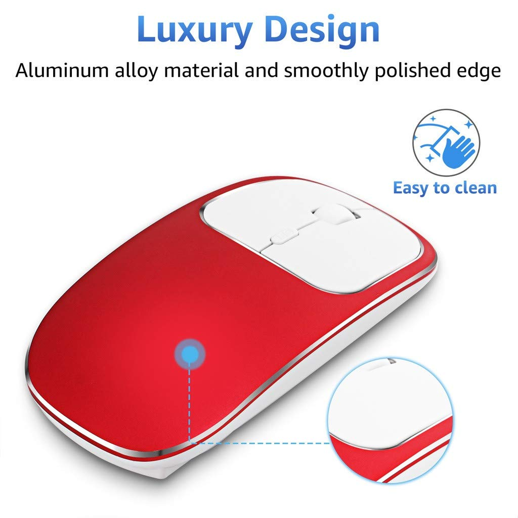 Rechargeable Wireless Mouse,UMei Mute Silent Click Mini Noiseless Optical Mice,Ultra Thin 1600 DPI Ergonomic Mouse for Notebook,PC,Laptop,Computer,MacBook