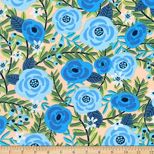 Robert Kaufman Kaufman Laguna Jersey Knit Prints Blue Flowers Fabric by The Yard,