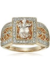 10k Rose Gold Morganite and Diamond Ring (1/3cttw, H-I Color, I1-I2 Clarity), Size 7