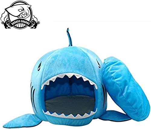BADASS SHARKS Shark Dog Bed Winter Pet Products Warm Soft Dog House Pet Sleeping Bag Kennel Cat Bed Cat House 42cm 50cm 50cm, Blue