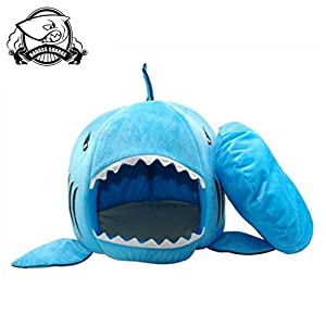 BADASS SHARKS Washable Shark Pet House Cave Bed for Small Medium Dog Cat with Removable Cushion & Waterproof Bottom