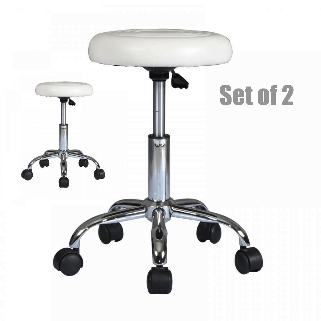 Premium PU-leather Hydraulic Adjustable Stool Salon Massage Beauty Spa Dental Sturdy Durable Swivel Rolling Chair - Set of 2 White #1076