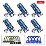 VICTONY 6Pin PCI-E Riser 6-Pack 1x to 16x Powered Riser Adapter Card With 23.6 inch USB 3.0 Extension Cable & 6 Pin PCI-E to SATA Power Cable-GPU Riser Adapter-Ethereum Mining ETH+MintCell 6 Cable Tie