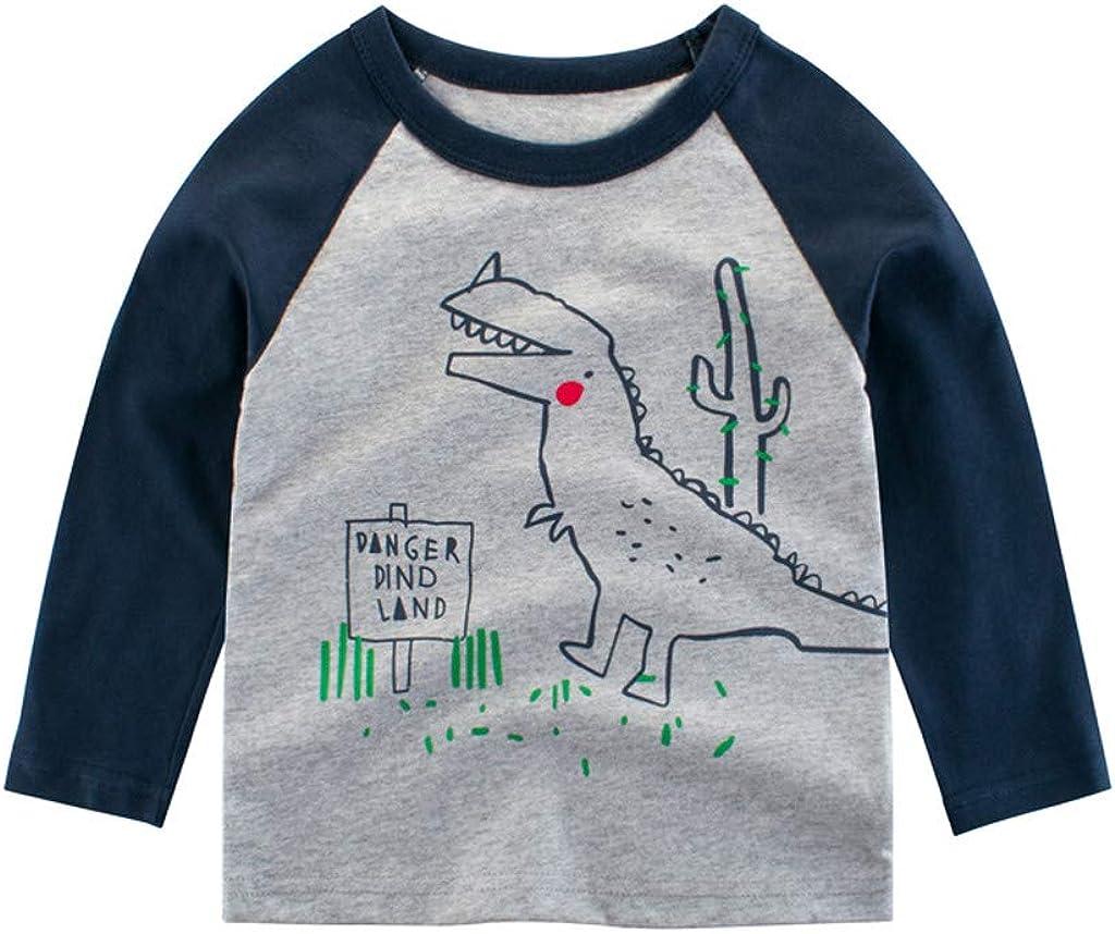 WEXCV Kleinkind Kinder Baby Jungen Langarm Dinosaurier Drucken N/ähen Sweatshirts S/äugling Bluse /Übersteigt Herbst und Winter Warm Mode Niedlich 1-7Jahre