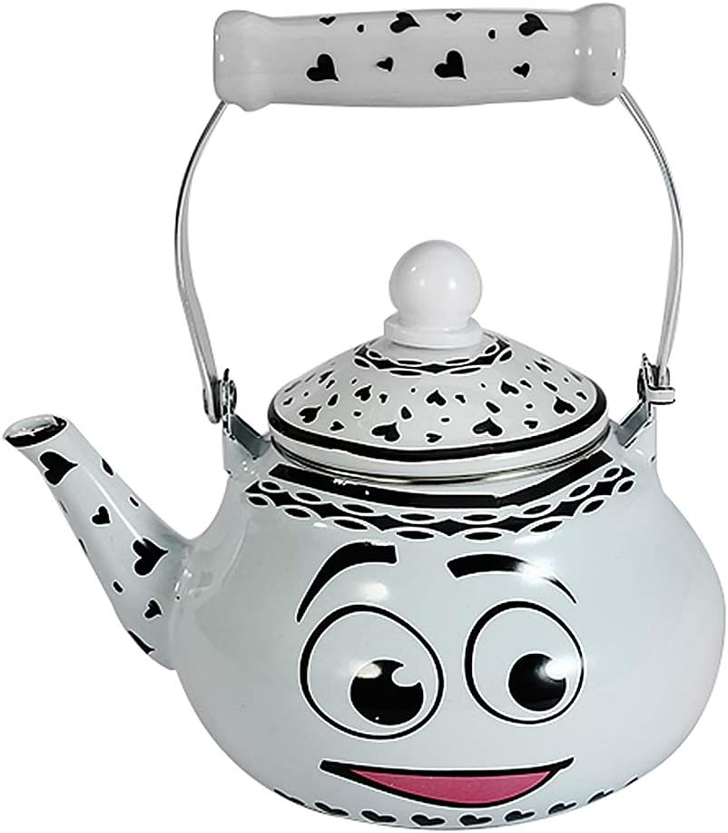 teapot for stovetop Enamel, Kettle teel with Enamel Finish Perfect Addition to Any Kitchen, Cute Teapot, Kitchen Accessories, Animal Retro Kettle for Gas Top or Electric Stoves Smile 2 Liter