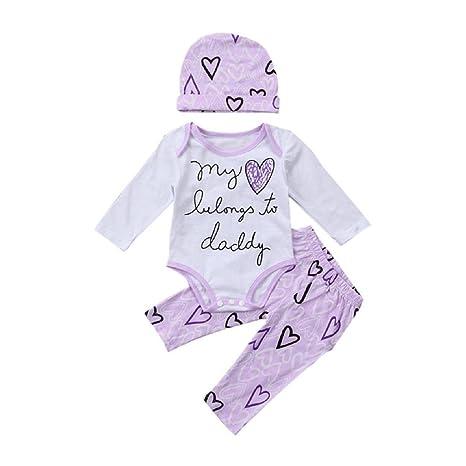 Juego de ropa de bebé, ppbuy bebé Pelele de carta impreso + corazón Patten pantalones