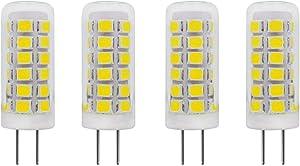 2W G4 LED Bulb 120V Dimmable (20W Mini T3 G4 Bi-Pin Base Halogen Lamp) Glass Cover for Under Cabinet Lights, Puck Light, Ceiling Lights, Daylight White 6000K (Not 12V), Pack of 4