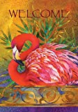 Toland Home Garden Pink Flamingo 12.5 x 18 Inch Decorative Tropical Welcome Bird Feather Garden Flag