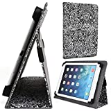 Apple iPad Air, Air 2 9.7 Inch Tablet Stand Cases | Black/White Paisley Folio Cover
