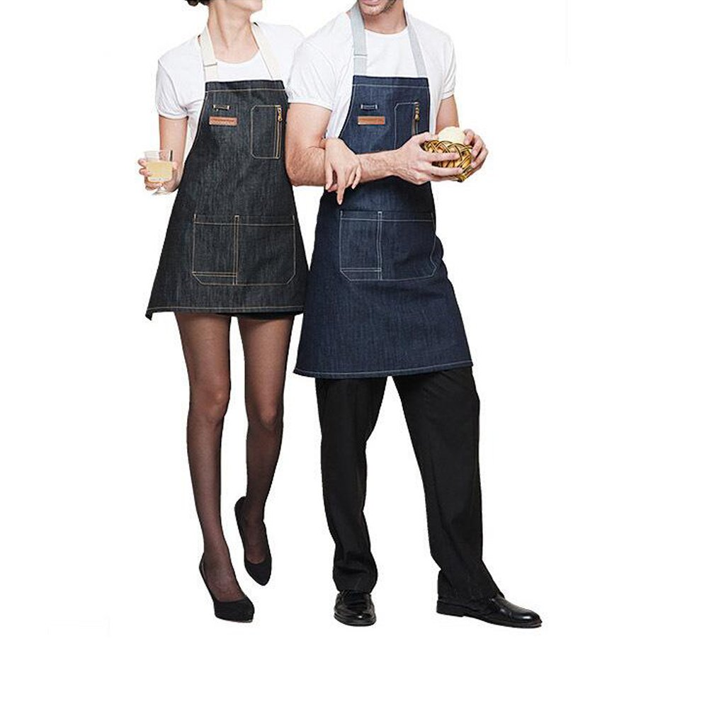 AINOLWAY Stylish Denim Apron with Pockets Korean Style Jean Apron for Man Kitchen Cooking 24.4''L X 23.6''W BLACK