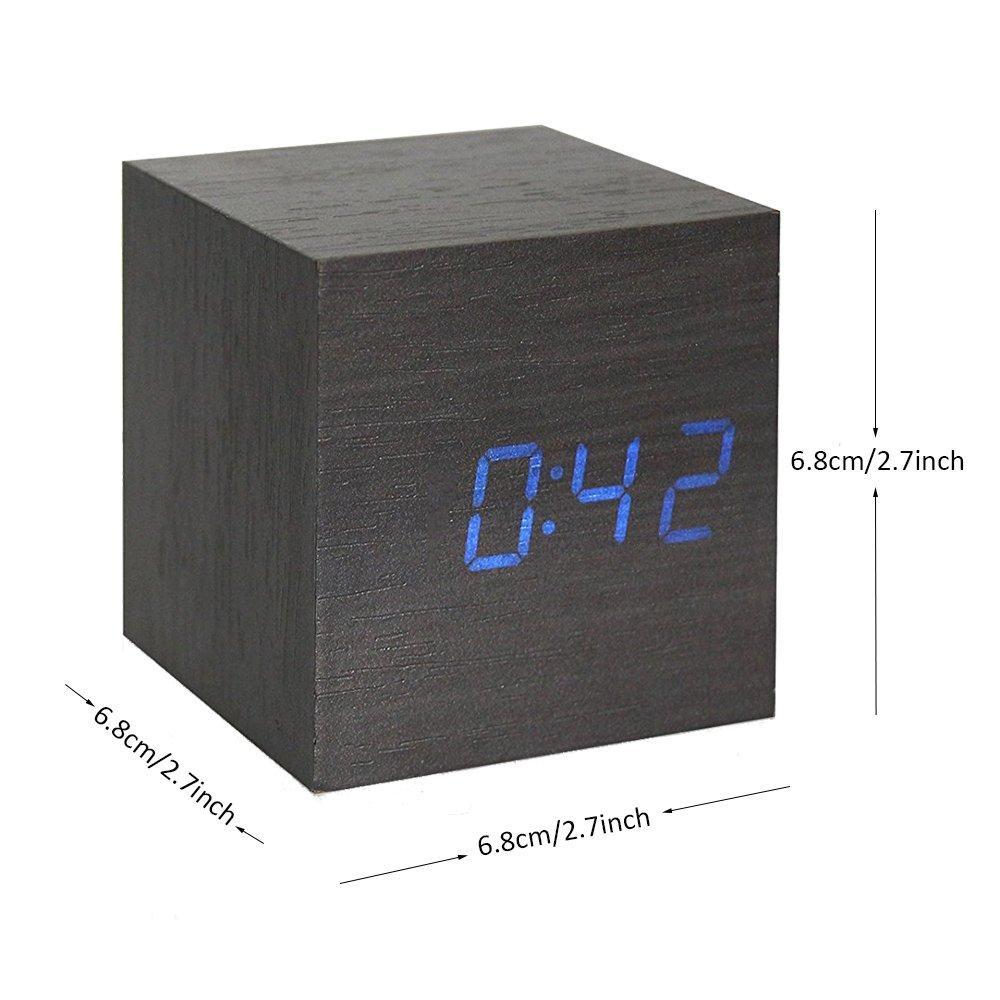 Onerbuy Wooden Digital Cube Alarm Clock Toque Sound Activated Desk Clock Reloj de Viaje portátil con Pantalla LCD para Tiempo, Temperatura, Calendario, ...