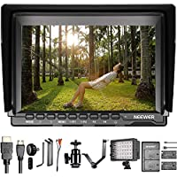 Neewer Camera Monitor and LED Video Light Kit - NW759 7 inches Field Monitor with 1280x800 IPS Screen, CN-160 LED Panel Dimmable, F550 Replacement Battery with Charger and V-shape Triple Mount Bracket