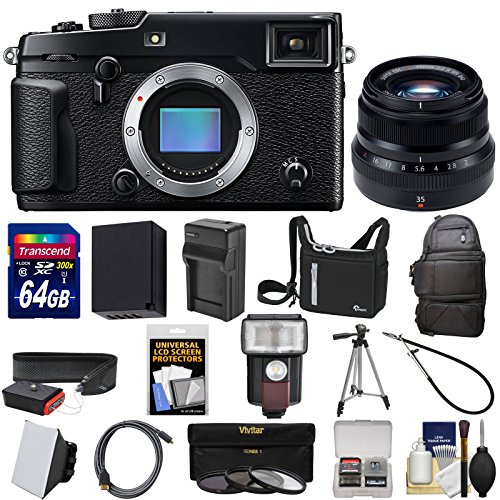 Fujifilm X-Pro2 Wi-Fi Digital Camera Body with 35mm f/2 WR Lens + 64GB Card + Battery + Tripod + 2 Cases + Kit