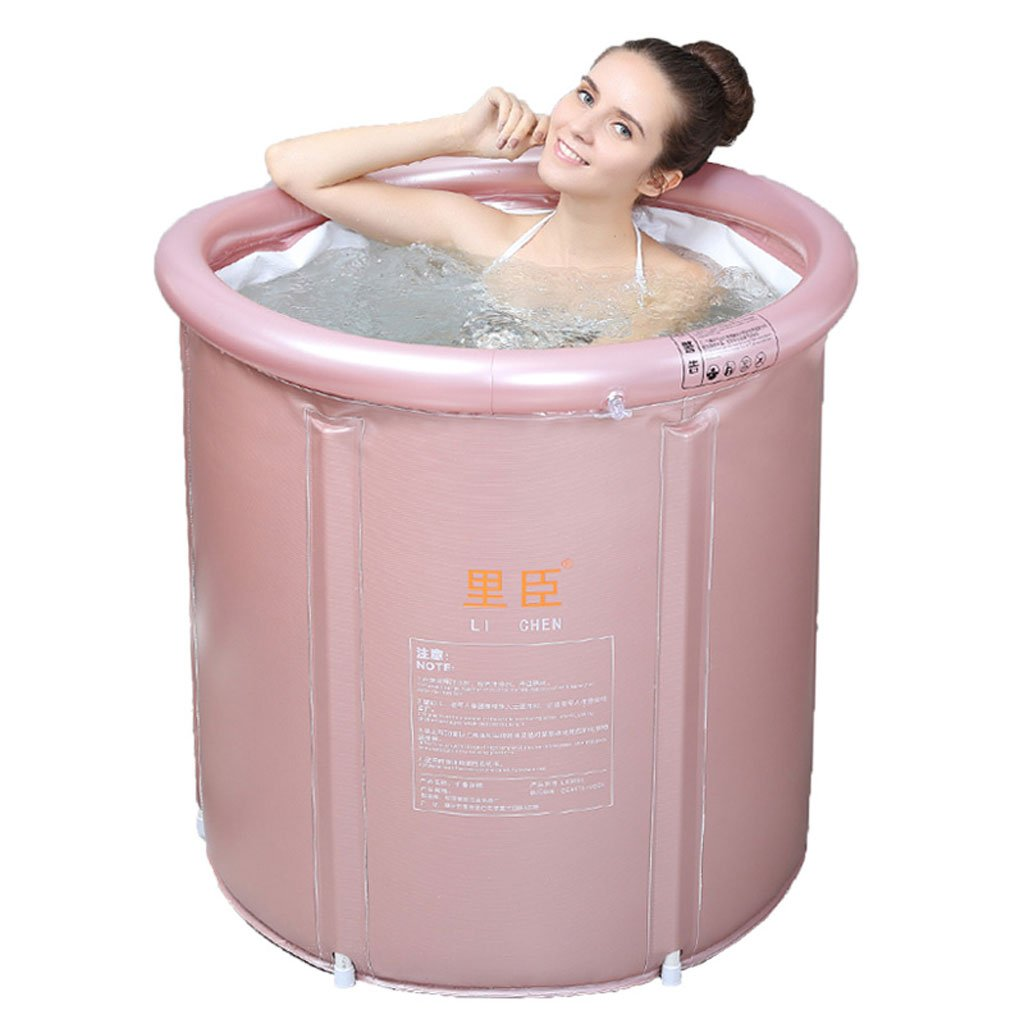 Pink Good product bathtub Bathtub, thickening thermal bath tub, adult net bracket folding bath, home, increase thickening environmental predection PVC material bucket (color   Pink)