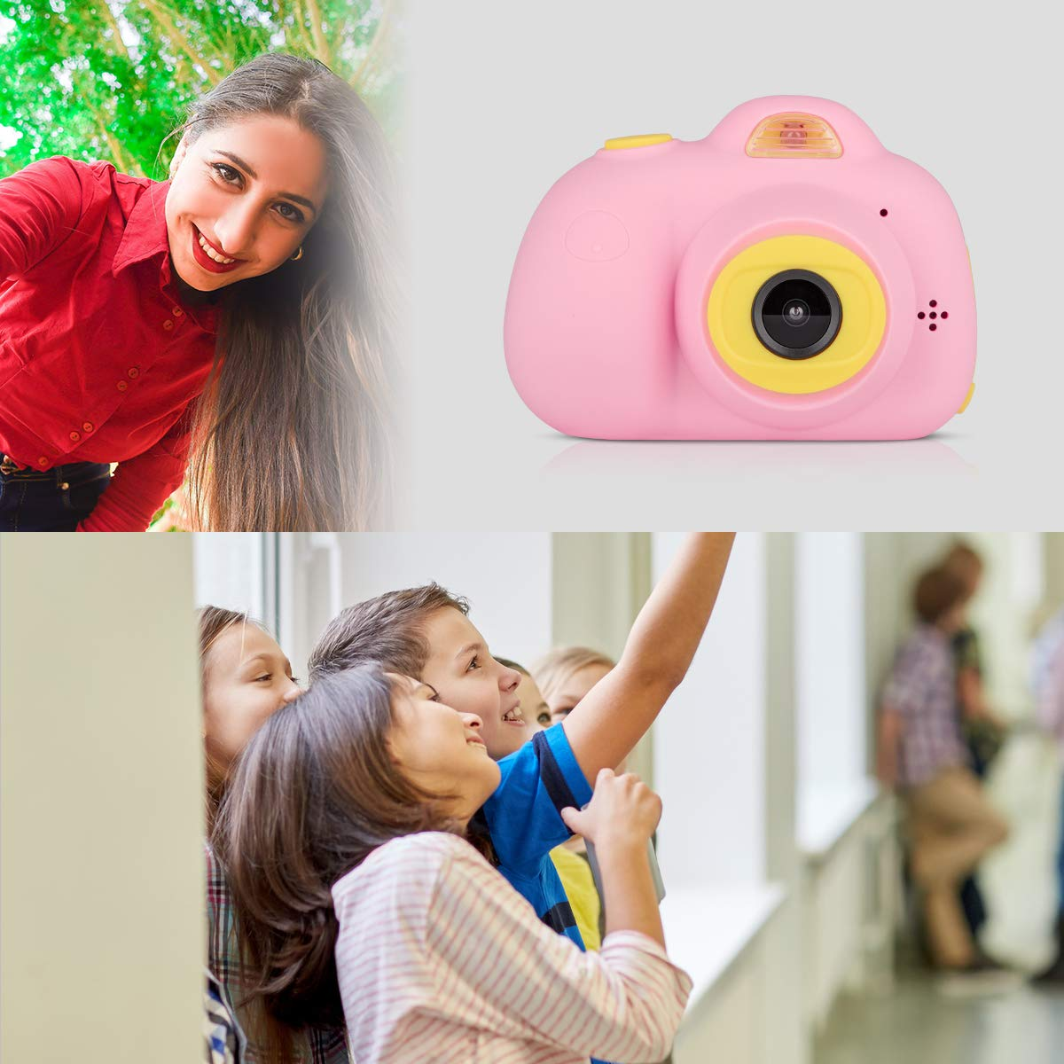 Funkprofi Kids Camera 1080P 8MP Front & Rear Camera Clear Digital Recorder Camcorder for Kids, Selfie Function, Funny Frames, Face Recognition, Support 32GB Memory Card, Best Gift for Boys and Girls by Funkprofi (Image #6)