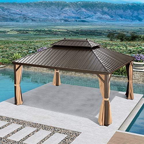 PURPLE LEAF 12 X 16 Outdoor Galvanized Steel Hardtop Double Roof Permanent Gazebo Canopy Aluminum Frame Patio Garden Gazebo
