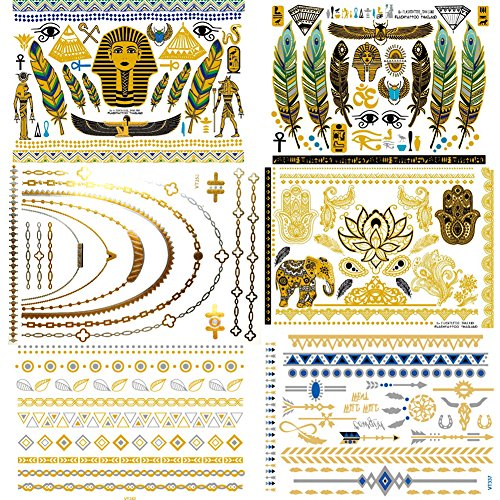 Premium Metallic Flash Egypt Style Temporary Tattoos (6 Sheets) - Shimmer Designs in Gold, Silver - Temporary Fake Jewelry Tattoos
