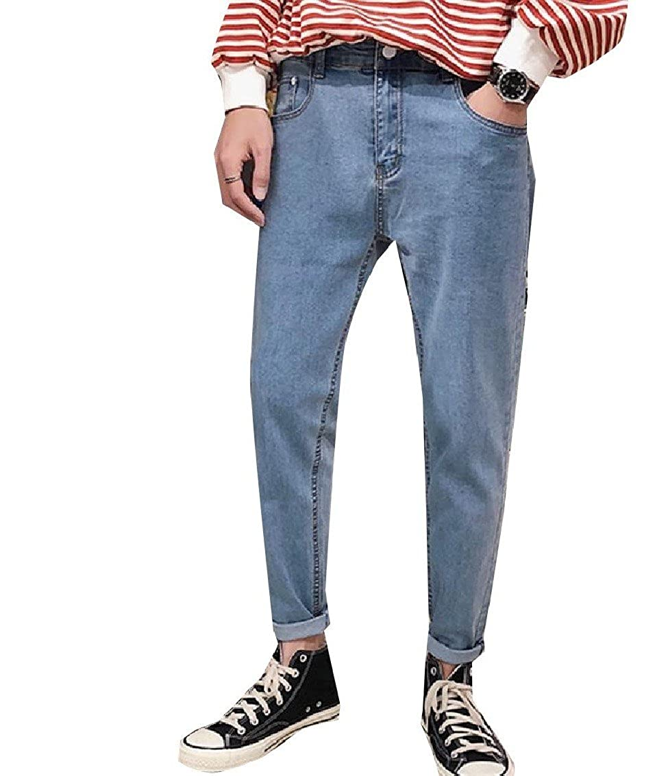 LinkShow Mens Pure Colour Popular/ Tapered-Leg Pocket Premium Vintage Denim Jeans