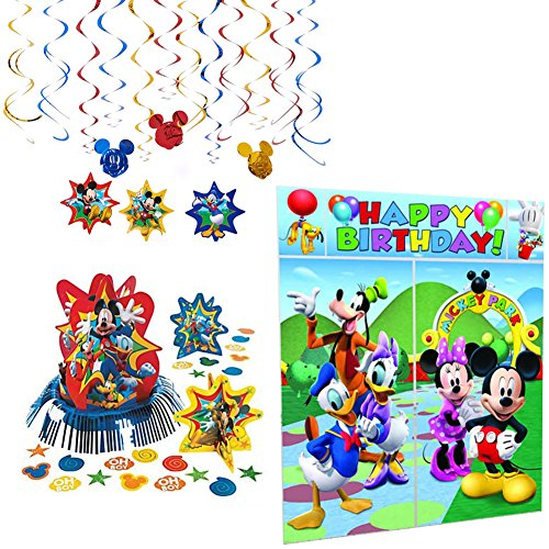 Mickey Mouse Party Supplies Decorations Party Pack - Hanging Swirls, Table Decorating Kit, and Scene Setter