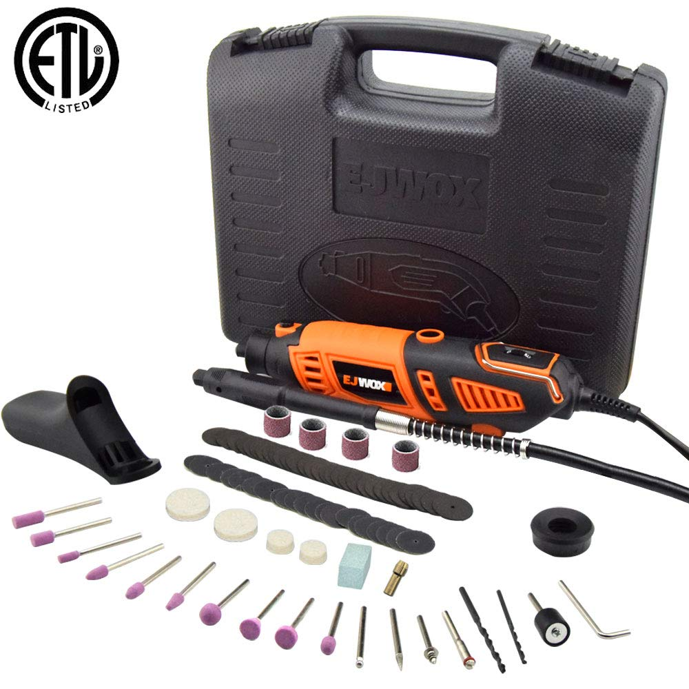 Rotary Tool Kit Variable Speed with Flex Shaft - Electric Rotary Drill/Sander/Grinder/Cutting/Polishing Tool, with 101pcs Multi-functional Accessories&2 Attachments&1 Carrying Case,for House and Craft