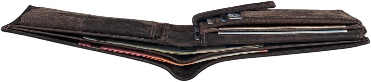 marr/ón STILORD Chester Cartera o Monedero de Elegante dise/ño Vintage para Hombres Billetera peque/ña con Ranuras para Tarjetas Billetes DNI de aut/éntica Piel Color:Antero