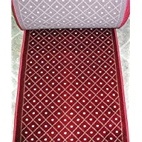 157618 - Rug Depot Royale 782 Red Casual Trellis Hall and Stair Runner - 26 Wide Hallway Rug Runner - Custom Sizing - Red Background - Choose Your Length - 26 x 10 feet