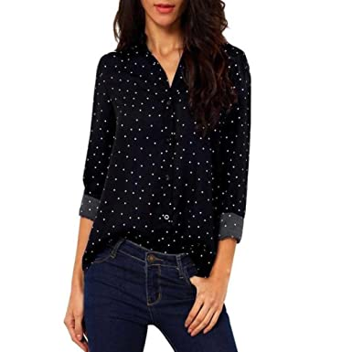 8a37392afeb Kangma Women Casual Long Sleeve Chiffon Loose Tops Blouse Button-Down Shirts  Black