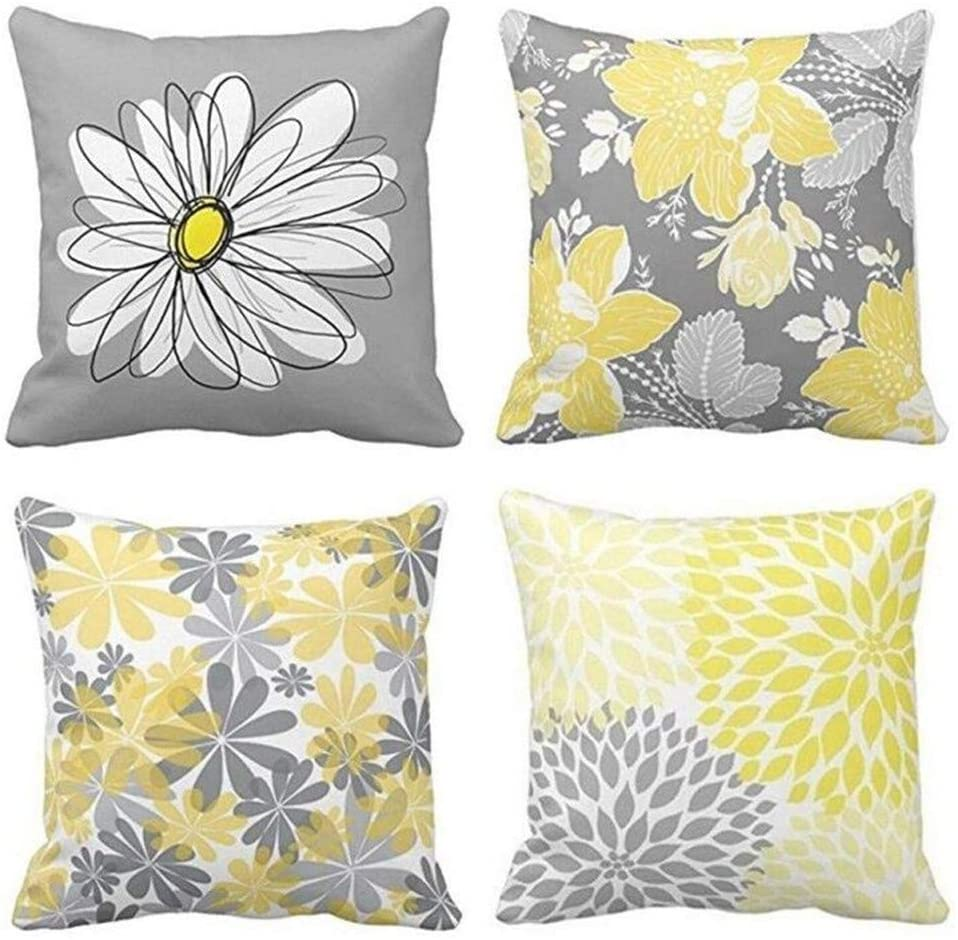 """BJYHIYH Decorative Throw Pillow Covers 18""""x18""""Grey and Yellow Flowers Cushion Cover Soft Polyester Square Throw Pillow Case for Living Room Sofa Couch Bed Pillowcases Set of 4"""